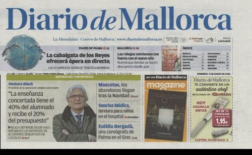 Entrevista al presidente de la ACENEB-CECEIB, Sr. Ventura Blach, en el Diario de Mallorca 3/01/2016