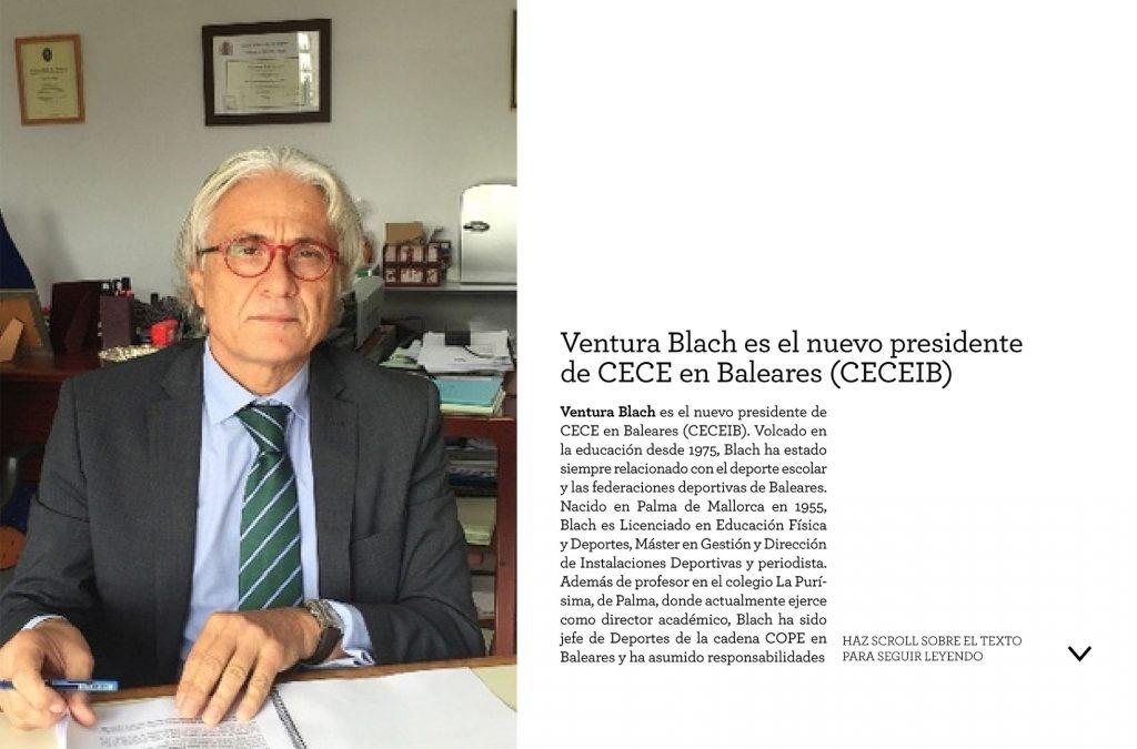 """Entrevista al president Ventura Blach a la revista """"Actualidad docente"""", número 4. A la pàg núm. 25 de l'enllaç en trobareu el contingut."""