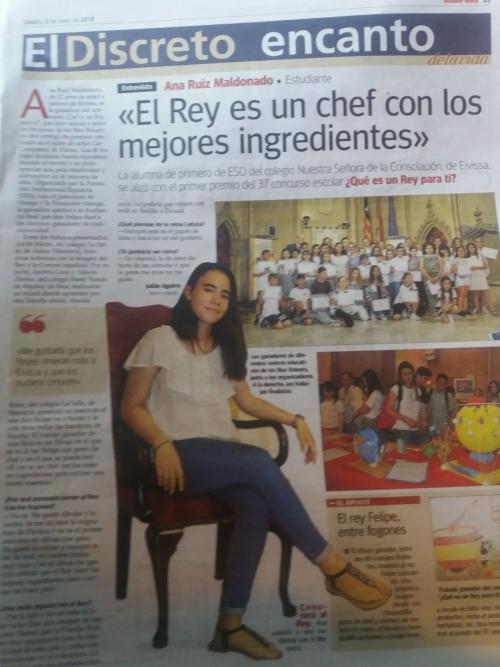 La alumna Ana Ruiz Maldonado del Colegio Nuestra Señora de la Consolación de Ibiza gana el concurso escolar ¿Qué es un rey para ti?