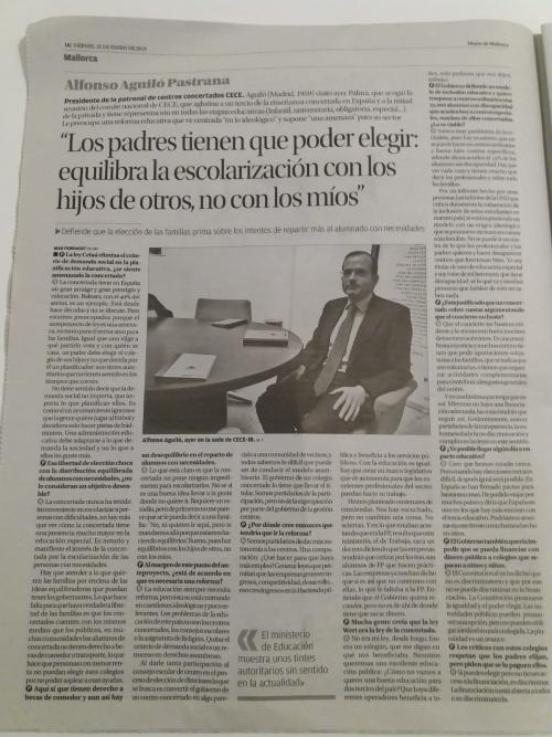 Entrevista en Diario de Mallorca a Alfonso Aguiló, presidente nacional CECE