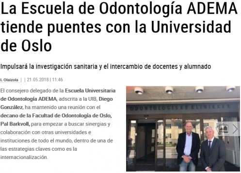 La Escuela de Odontología ADEMA tiende puentes con la Universidad de Oslo