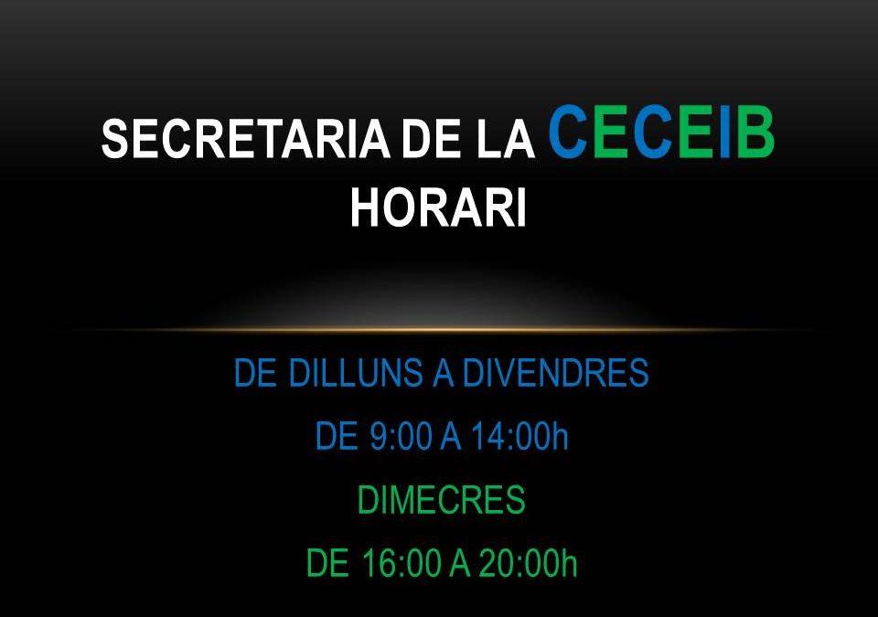 Horari de la secretaria CECEIB