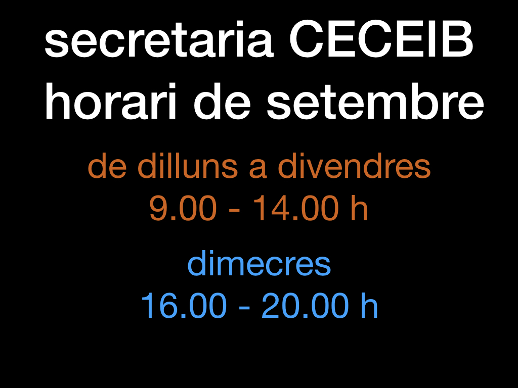 Horari de setembre de la secretaria CECEIB