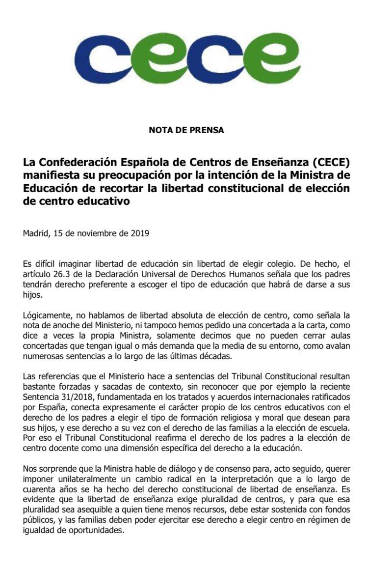 Nota de prensa de CECE