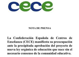 NOTA DE PRENSA CECE