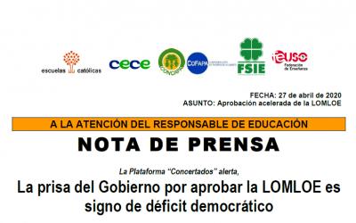 """Nota de prensa Plataforma """"Concertados"""""""