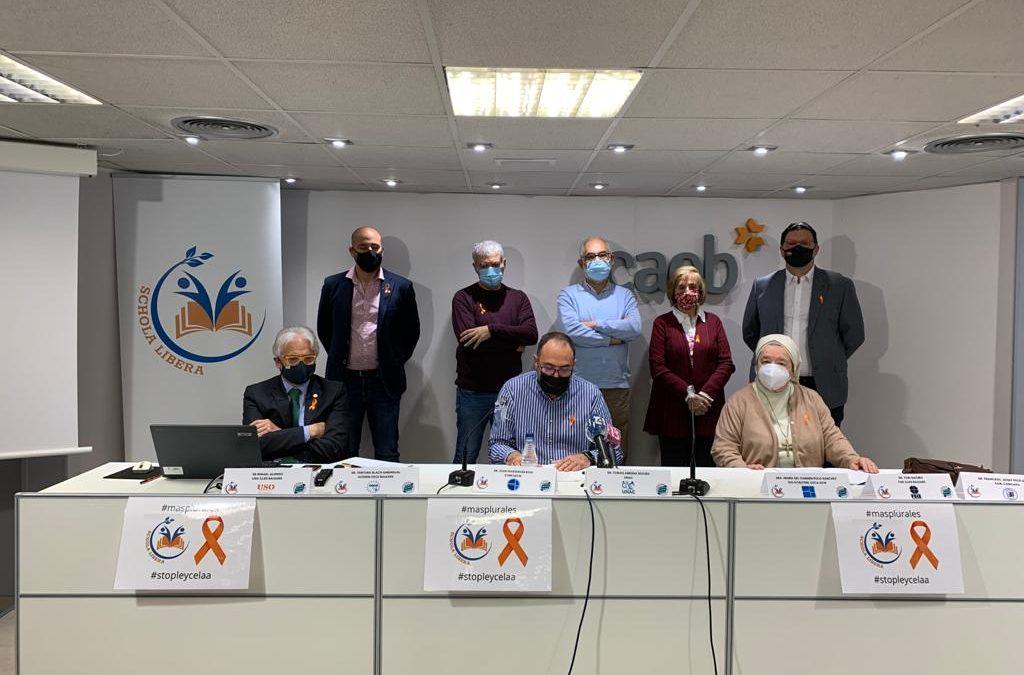 Rueda de prensa de Schola Libera presentando la plataforma  Más Plurales en contra de la LOMLOE