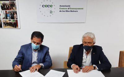 Firma del acuerdo de colaboración entre CECEIB  y Prevención Informática, con la representación de su gerente D. Pep Lluís LLedó y nuestro presidente D. Ventura Blach.